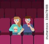 couple in love in the cinema... | Shutterstock .eps vector #336678488