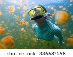 underwater photo of tourist... | Shutterstock . vector #336682598