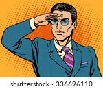 businessman leader looks... | Shutterstock . vector #336696110