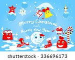 cartoon character christmas set ... | Shutterstock .eps vector #336696173
