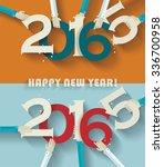 happy new year 2016 creative... | Shutterstock .eps vector #336700958