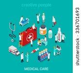 flat 3d isometric medical... | Shutterstock .eps vector #336701693