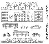 city hand drawn doodle borders. ... | Shutterstock . vector #336701924
