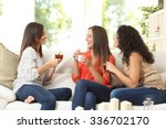 three happy friends talking and ... | Shutterstock . vector #336702170