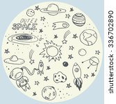 set of hand drawn space doodles | Shutterstock .eps vector #336702890
