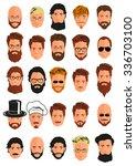 set of 25 young men smiling... | Shutterstock .eps vector #336703100