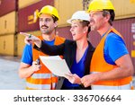workers on logistics container...   Shutterstock . vector #336706664