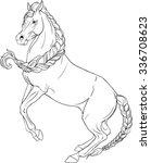 coloring book with horse game | Shutterstock .eps vector #336708623