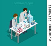 flat 3d isometric science lab... | Shutterstock .eps vector #336708953