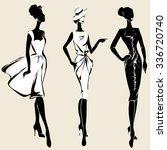 Retro Fashion Models In Sketch...
