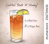 cocktail dark 'n' stormy mixed... | Shutterstock .eps vector #336734636