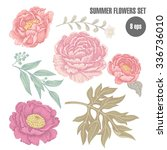 set of flowers peonies and... | Shutterstock .eps vector #336736010