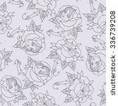 seamless pattern with roses   Shutterstock .eps vector #336739208