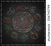 colorful hand drawn pizza... | Shutterstock .eps vector #336745799