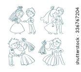 wedding doodle comic set. cute... | Shutterstock .eps vector #336767204