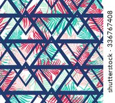 tropical palm leaf pattern with ... | Shutterstock .eps vector #336767408