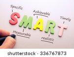 wood letter of smart word with... | Shutterstock . vector #336767873