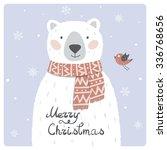 Christmas Card With Cute Polar...