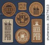 set of leather labels on denim... | Shutterstock .eps vector #336774113