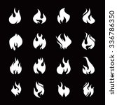 set of white fire icon | Shutterstock .eps vector #336786350