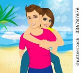happy couple in love on beach... | Shutterstock .eps vector #336787676
