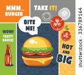 burger poster funny food talk   Shutterstock .eps vector #336789164