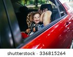 adorable baby boy in safety car ... | Shutterstock . vector #336815264