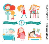 children's daily routine. | Shutterstock .eps vector #336830348