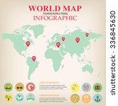 world map info graphic vector. | Shutterstock .eps vector #336845630