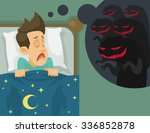 Man And Nightmare. Vector Flat...