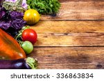 vegetables on wooden background | Shutterstock . vector #336863834