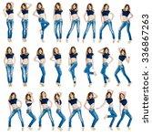 young beautiful girls in a blue ... | Shutterstock . vector #336867263