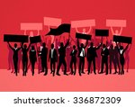protest people crowd silhouette ... | Shutterstock .eps vector #336872309