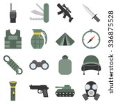 Vector Military Icons Set  Fla...