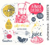 Drinks in sketch style. Useful natural juices and smoothies. Vector funny illustration with lemonade, drinks and kitchen equipment. Detox. Healthy lifestyle. | Shutterstock vector #336885578