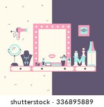 vector concept of makeup table... | Shutterstock .eps vector #336895889