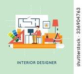 interior designer. flat design... | Shutterstock .eps vector #336904763