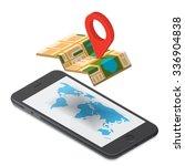 flat 3d isometric mobile gps... | Shutterstock .eps vector #336904838