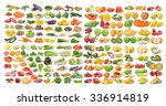 set of fruit and vegetable on... | Shutterstock . vector #336914819