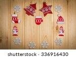 wooden christmas figurines... | Shutterstock . vector #336916430