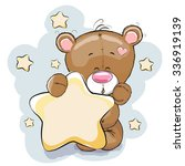 teddy bear with star on a stars ... | Shutterstock .eps vector #336919139