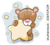 teddy bear with star on a stars ... | Shutterstock .eps vector #336919139