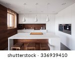 white kitchen island in modern... | Shutterstock . vector #336939410