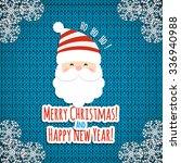 santa on knit background.... | Shutterstock .eps vector #336940988