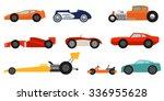 flat style race cars set   Shutterstock .eps vector #336955628