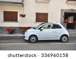 Small photo of MORGEX, ITALY - JUNE 22: New Fiat 500 in the street of Morgex, Italy on June 22, 2015. Fiat 500 is a mini car by Italian automaker Fiat since 2007.