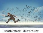 businessman running fast on... | Shutterstock . vector #336975329