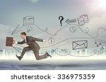 businessman running fast with... | Shutterstock . vector #336975359