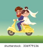 the newlyweds go on a moped... | Shutterstock .eps vector #336979136