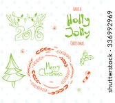 merry christmas  holly jolly ... | Shutterstock .eps vector #336992969